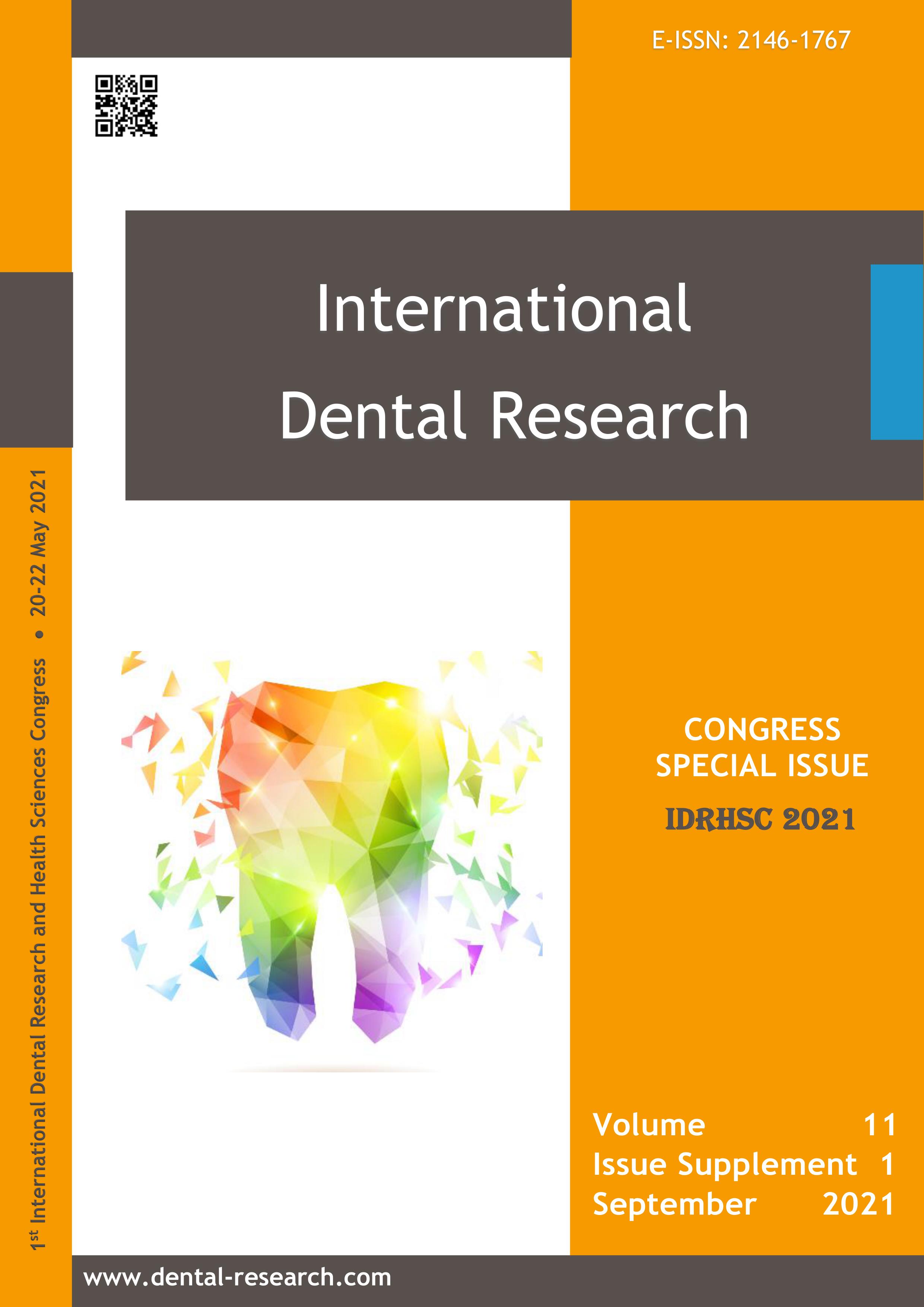 Vol 11 No Supplement 1 (2021): International Dental Research